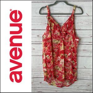 Avenue Sheer Floral Print Tank Top Size 26/28